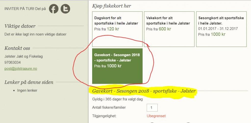 Gje fiskekort på fiske i Jølster 2018 til Julegave
