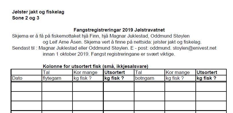 Fangstregistreringar 2019